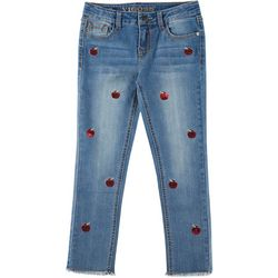 Big Girls Sequin Apple Denim Ankle Jeans