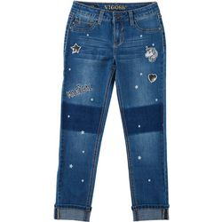 Big Girls Magical Unicorn Patch Denim Ankle Jeans
