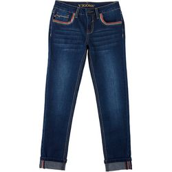 Big Girls Rainbow Cuff Pocket Denim Ankle Jeans