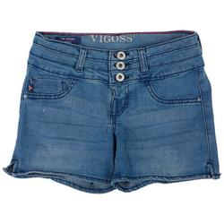 Big Girls Stacked Waist Denim Shorts