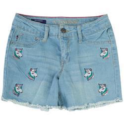 Big Girls Unicorn Patch Denim Shorts