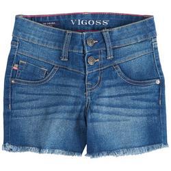 Big Girls High Rise Button Fly Fringe Denim Shorts