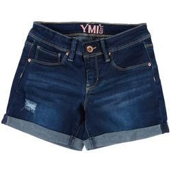 YMI Big Girls Destructed Roll Cuff Denim Shorts