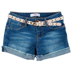 YMI Big Girls Belted Denim Shorts