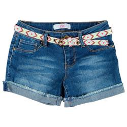 Big Girls Belted Denim Shorts