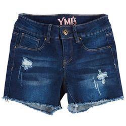 YMI Big Girls Whiskered Distressed Denim Shorts