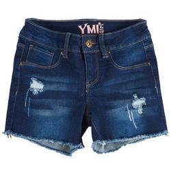 Big Girls Whiskered Distressed Denim Shorts
