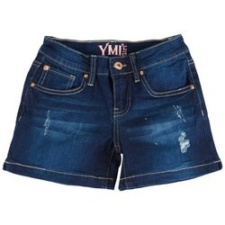 YMI Big Girls Whiskered Destructed Denim Shorts