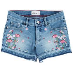 Big Girls Floral Embroidered Denim Shorts