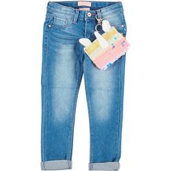 Little Girls Unicorn Roll Cuff Denim Pants