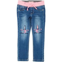 Little Girls Unicorn Knee Denim Pull on Pants