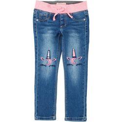 Little Girls Unicorn Knee Denim Pull on Pants