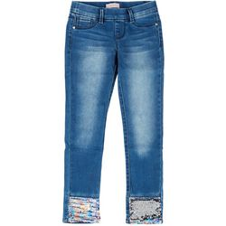 Squeeze Big Girls Flip Sequin Hem Denim Pants