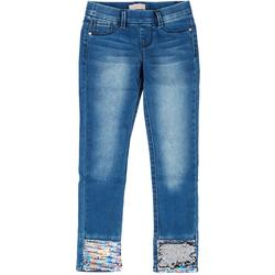 Big Girls Flip Sequin Hem Denim Pants