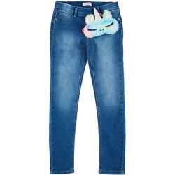 Big Girls Denim Pants & Unicorn Fur Sleep Mask