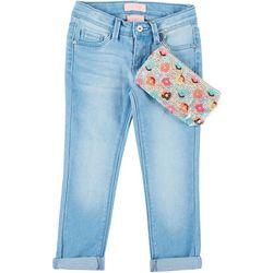 Squeeze Little Girls Donut Roll Cuff Denim Pants