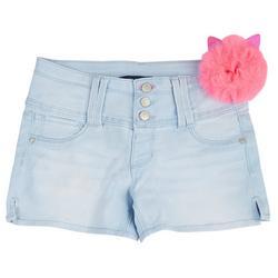 Big Girls Denim Shorts & Kitty Puff Keychain