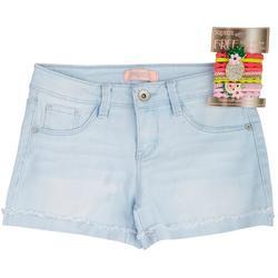 Big Girls Denim Shorts & Pineapple Elastic Hair Ties