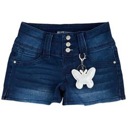 Big Girls Denim Shorts & Butterfly Keychain