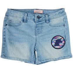 Big Girls Denim Unicorn Patch Denim Shorts