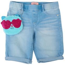 Big Girls Denim Shorts & Kitty Zipper Pouch