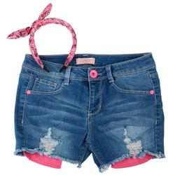 Big Girls Denim Shorts & Paisley Headband