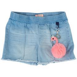 Big Girls Denim Shorts & Flamingo Keychain