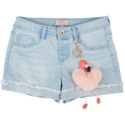 Big Girls Denim Shorts & Flamingo Heart Keychain