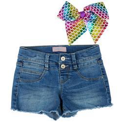 Little Girls Denim Shorts & Rainbow Hair Clip