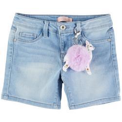 Big Girls Denim Shorts & Llama Keychain