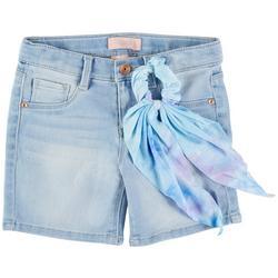 Little Girls Denim Shorts & Tie Dye Hair Tie