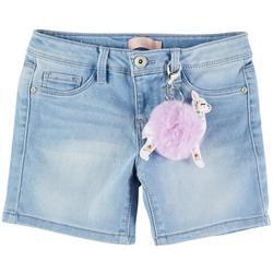 Little Girls Denim Shorts & Llama Keychain