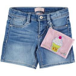 Big Girls Denim Shorts & Ice Cream Zipper Pouch