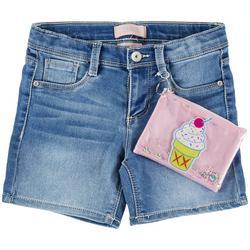 Little Girls Denim Shorts & Ice Cream Zipper Pouch