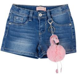 Little Girls Denim Shorts & Flamingo Puff Keychain
