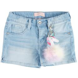 Little Girls Denim Shorts & Fluffy Unicorn Keychain