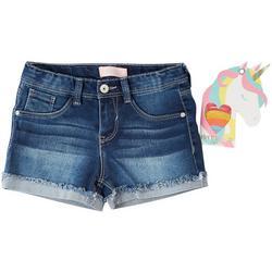 Little Girls Denim Shorts & Elastic Hair Ties