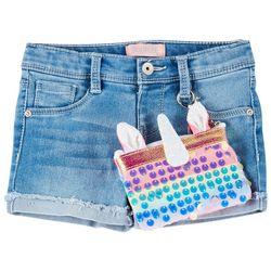 Squeeze Little Girls Unicorn Roll Cuff Denim Shorts