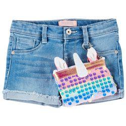 Little Girls Unicorn Roll Cuff Denim Shorts