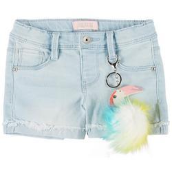 Little Girls Roll Cuff Toucan Denim Shorts