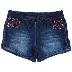 Squeeze Little Girls Flip Sequin Pocket Denim Pull On Shorts