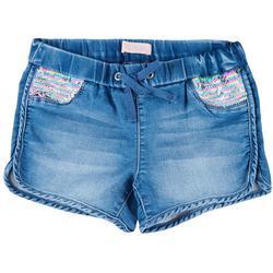 Big Girls Flip Sequin Pocket Denim Pull On Shorts
