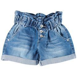 Big Girls Paper Bag Waist Denim Shorts