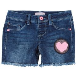Squeeze Big Girls Sequin Heart Denim Shorts