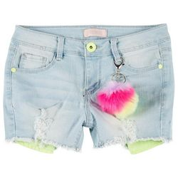 Big Girls Tie Dye Puff Denim Shorts