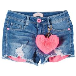 Big Girls Destructed Denim Shorts & Heart Keychain