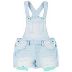 Big Girls Frayed Hem Denim Shortall