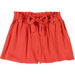 Full Circle Trends Big Girls Solid Paper Bag Shorts