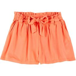 Full Circle Trends Big Girls Solid Paper Bag Shorts