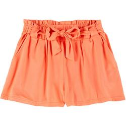 Big Girls Solid Paper Bag Shorts